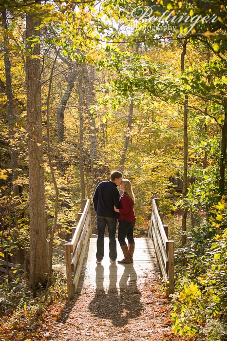 Fall Cincinnati Nature Center engagement rustic