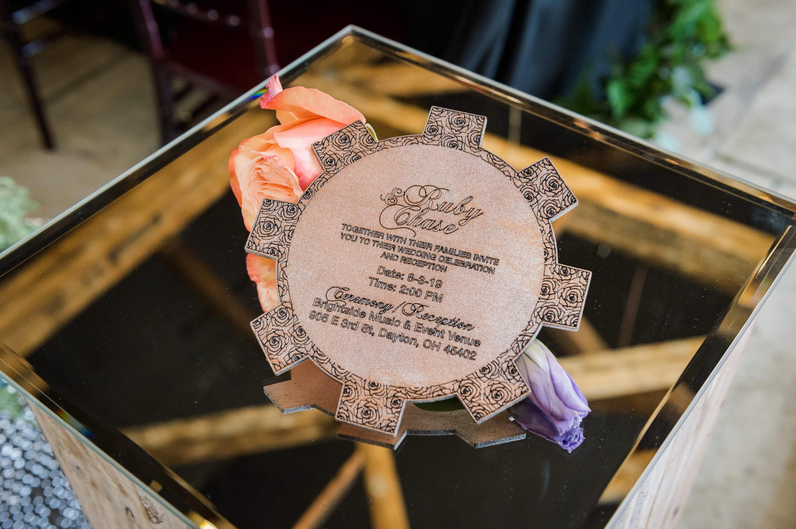 copper wedding invitation