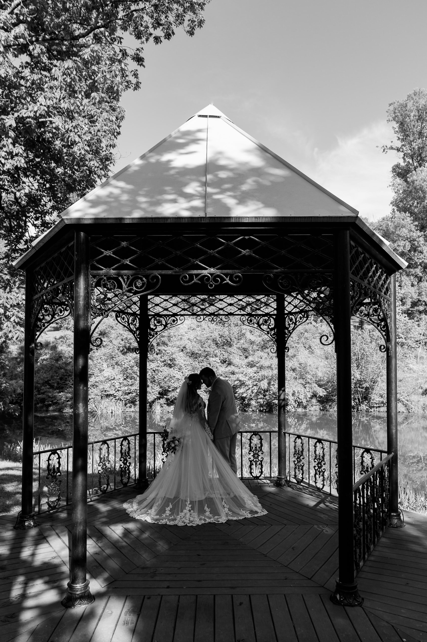 Wedding couple at Mt. Airy Forest Park's Meyer Lake Gazebo