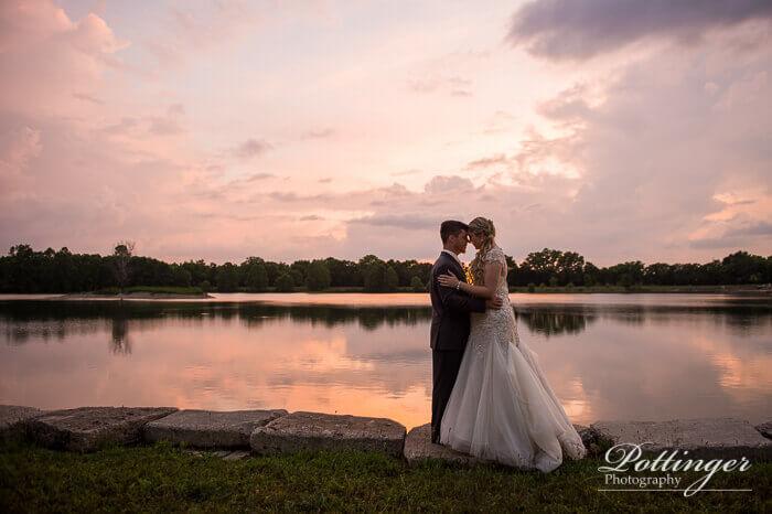 Sunset wedding image at Lake Lyndsay in Hamilton Ohio.