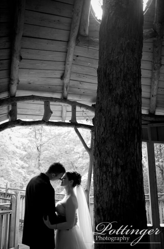 Bride and Groom at the treehouse in Mt. Airy Forest Park.